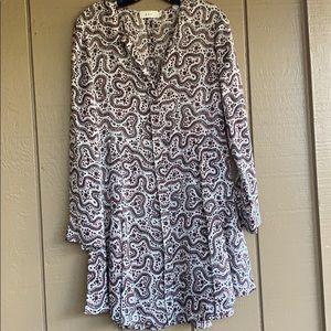 ALC Long Sleeve Silk Paisley Dress, Size 6